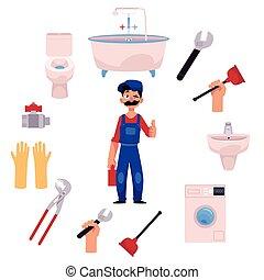 vector plumber man thumbs up plumbing tools