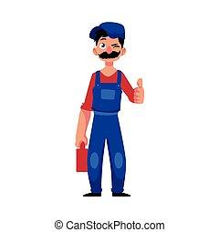 vector plumber man winking, thumbs up