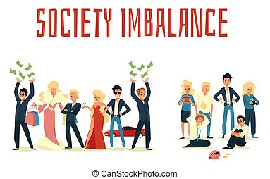 Vector poster with poor and rich people, concept of imbalance in society.