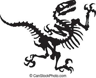 Vector silhouette of raptor dinosaur fossil.