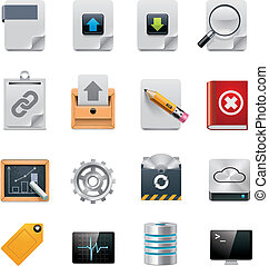 Set of network file server administration GUI icons