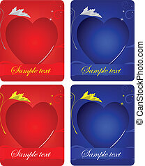 set of cards with hearts