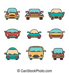 Vector set of cartoon cars.
