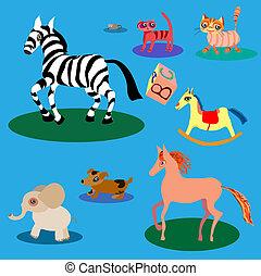 Vector set of cute cartoon animals.