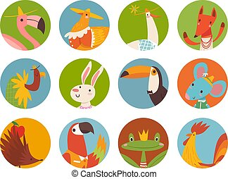 Vector set of cute cartoon animals faces in round forms
