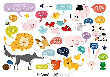 Vector set of cute cartoon animals. What do the animals say.