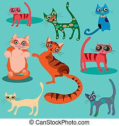 Vector set of cute cartoon cats.