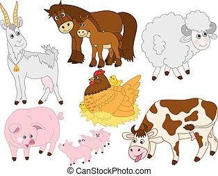 Vector Set of Cute Farm Animals