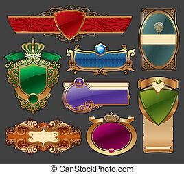 Vector set of golden luxury framed label