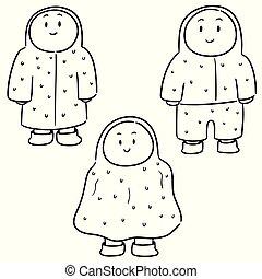 vector set of people in raincoat