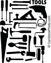 vector set of various tools