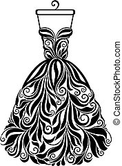 Vector silhouette of isolated floral back dress