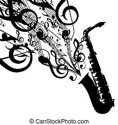 Vector Silhouette of Saxophone with Musical Symbols. Includes EPS 10 file and a large more than 15 MP jpg file.