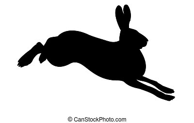 vector silhouette of the rabbit