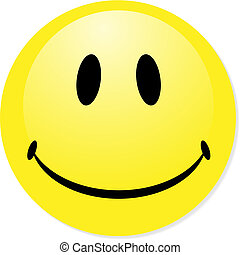 Vector smiling yellow emoticon. Perfect for icon, button, badge. Blend shadow.