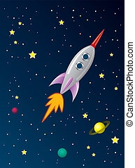 vector stylized retro rocket ship in space