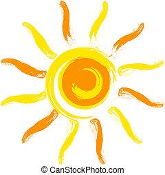 Vector yellow sun.
