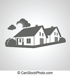 Vector symbol of home, group of houses icon, realty silhouette, sign of real estate