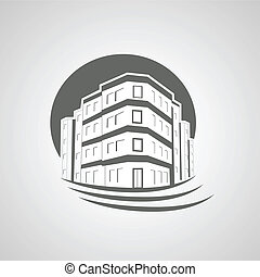 Vector symbol of home, house icon, realty silhouette, real estate, Apartment Building