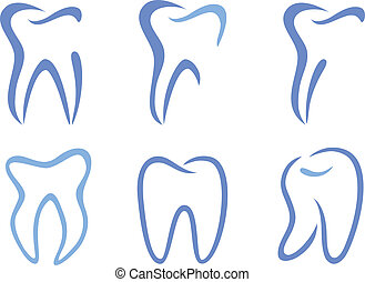 set of abstract teeth, vector illustration