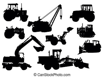 Vector - Tractor silhouettes