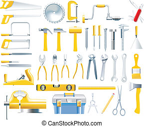 Set of tools used by woodworkers