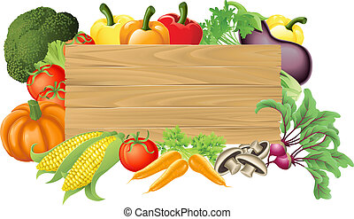 Illustration of a wooden sign surrounded by fresh vegetables
