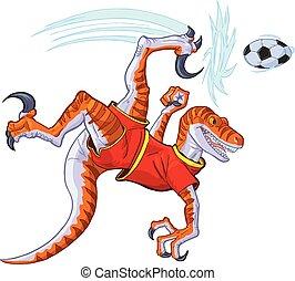 Velociraptor Bicycle Kicking Soccer Ball Vector Illustration