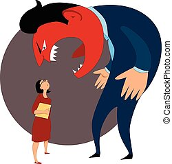Monster boss yelling at a female worker, vector illustration