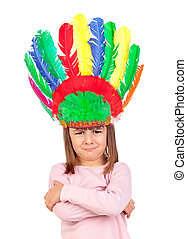 Very angry girl with indian feathers isolated on a white background