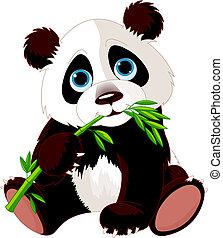 Very cute Panda eating bamboo