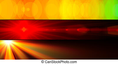 Three abstract colourful banners of sunbeams