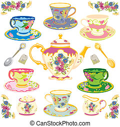 Selection of fancy teacups , isolated on white