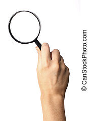 view magnifier hand take in fingers