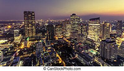 View of bangkok city at night from high building