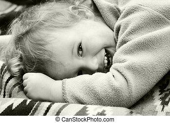 Vintage laughing kid