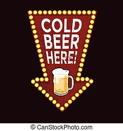 Vintage metal sign Cold Beer Here