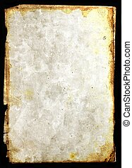 Mixed media illustration od blank vintage paper frame