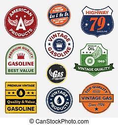 Set of vintage retro gasoline signs and labels