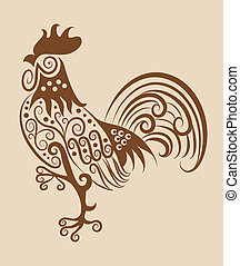 Rooster drawing with curl ornament decoration. Use for any design you want.