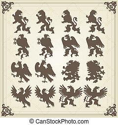 Vintage royal birds coat of arms