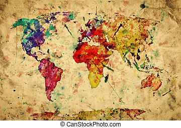 Vintage world map. Colorful paint, watercolor, retro style expression on grunge, old paper.