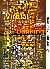 Virtual banking background concept glowing