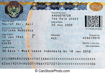 The visa to Bali, Indonesia