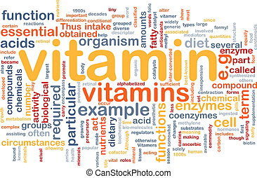 Background concept wordcloud illustration of vitamnins health nutrients