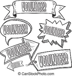 Volunteer banners and tags sketch
