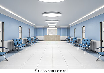 Waiting room in hospital interior with reception.