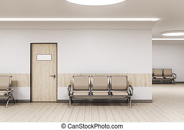 Waiting room in medical office interior with chairs
