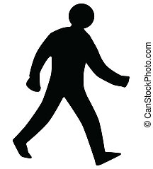 A walking man silhouette as found on traffic signs, isolated on white.