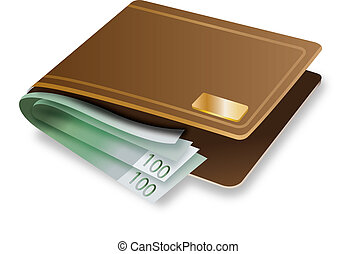 Brown Wallet with money vector